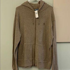Polo Large brown hooded zip up sweatshirt NWT